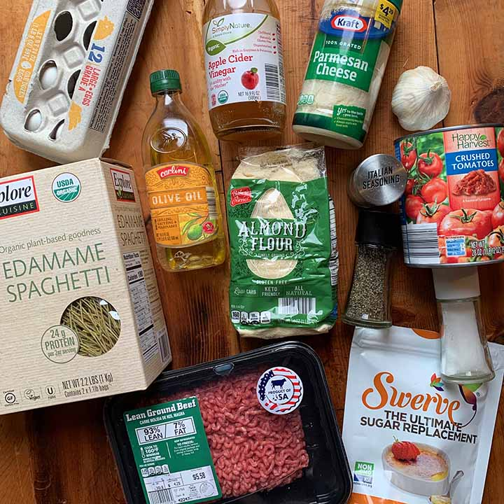 ingredients of low carb keto edamame noodles and meatballs