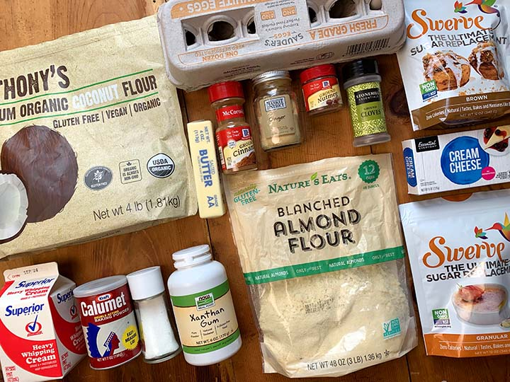 Ingredients for the Keto spice cake recipe