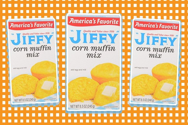 3 boxes of Jiffy Mix against a orange checkered background