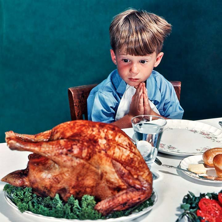 a norman Rockwell painting of a boy looking at a turkey