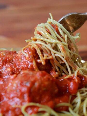 a forkful of Edamame Spaghetti and Meatballs