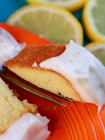 a forkful of Keto Lemon Pound Cake