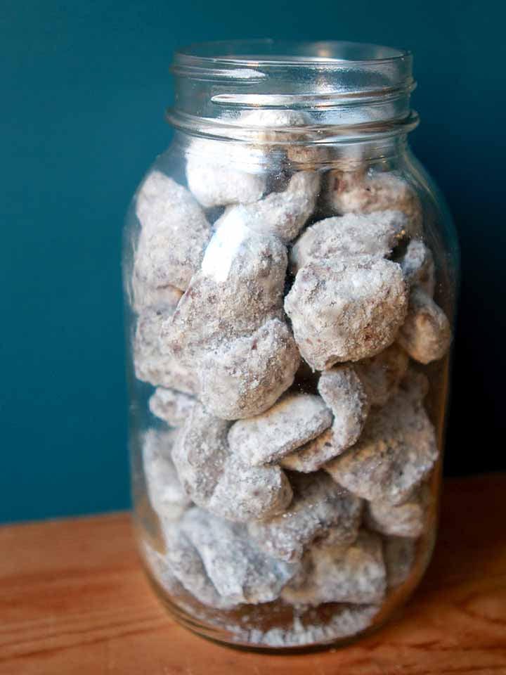 a jar full of Keto Puppy Chow