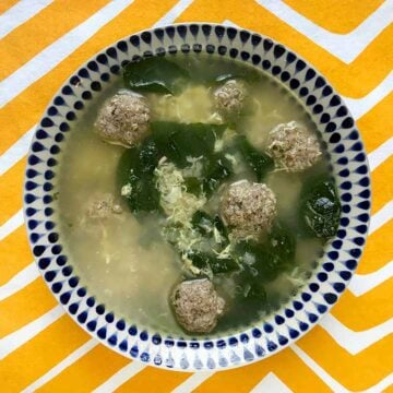 a bowl full of Keto Wedding Soup