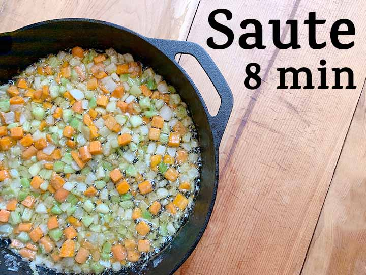 step 5 saute carrots, onions and celery in butter