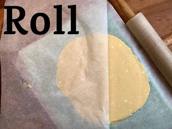 step 7 roll out dough between two sheets of parchment paper