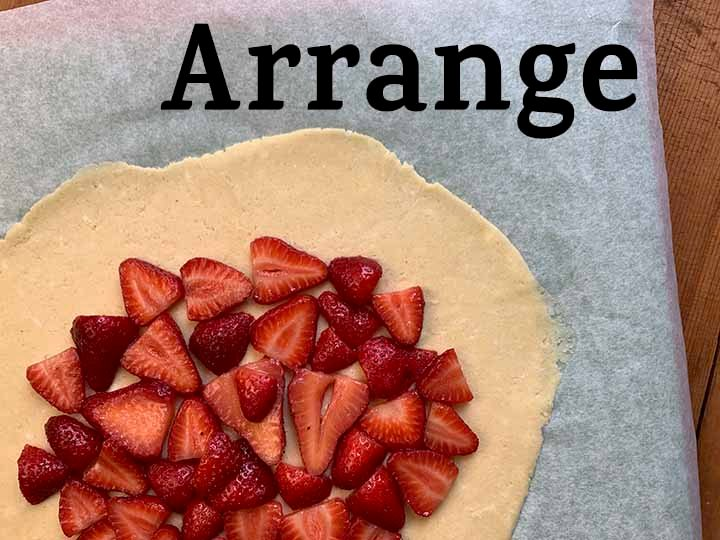step 9 arrange the strawberries on top of the dough