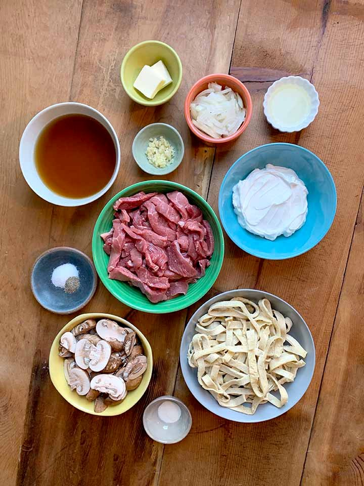 Ingredients of Keto Beef Stroganoff