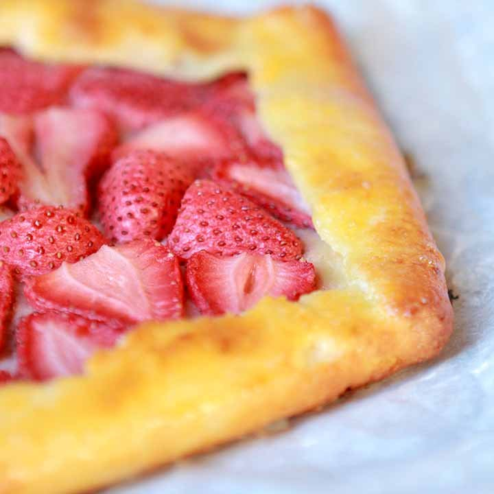 a side view of a low carb strawberry pie