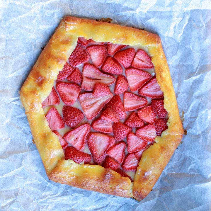 a top down view of a sugar free strawberry pastry