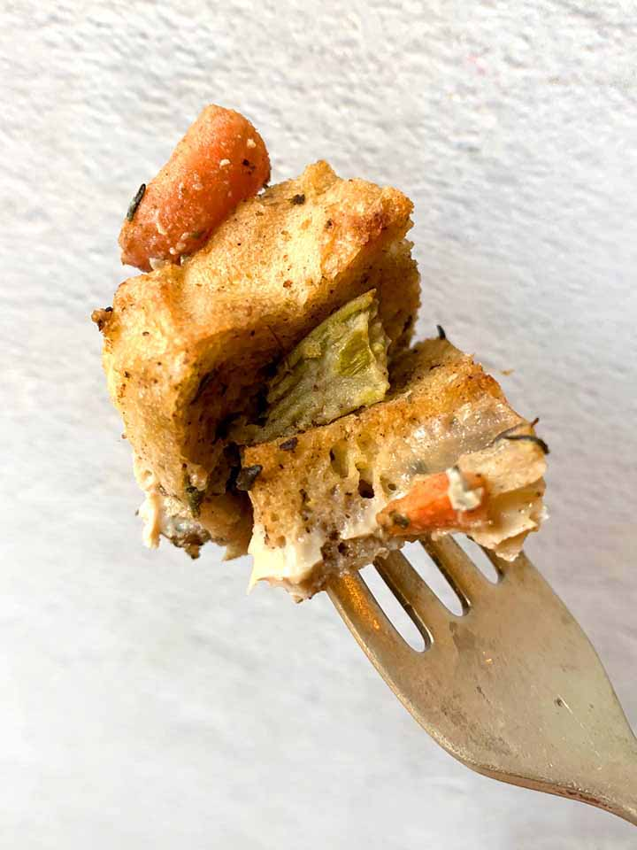 a fork holds a bite of grain-free stuffing