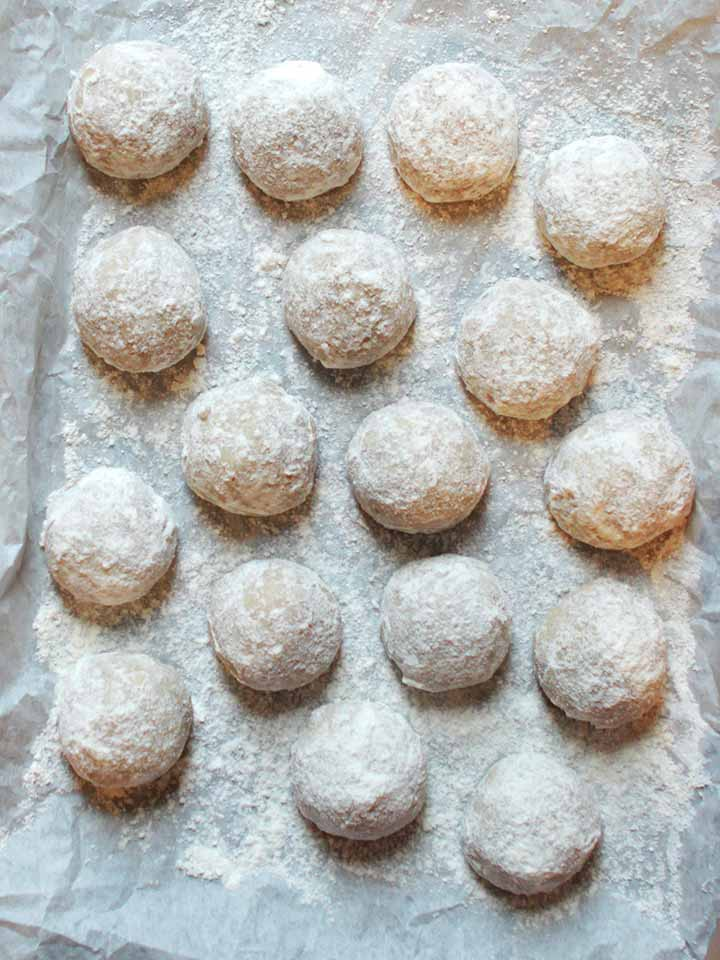 a top down view of 20 low carb Mexican Wedding Cookies