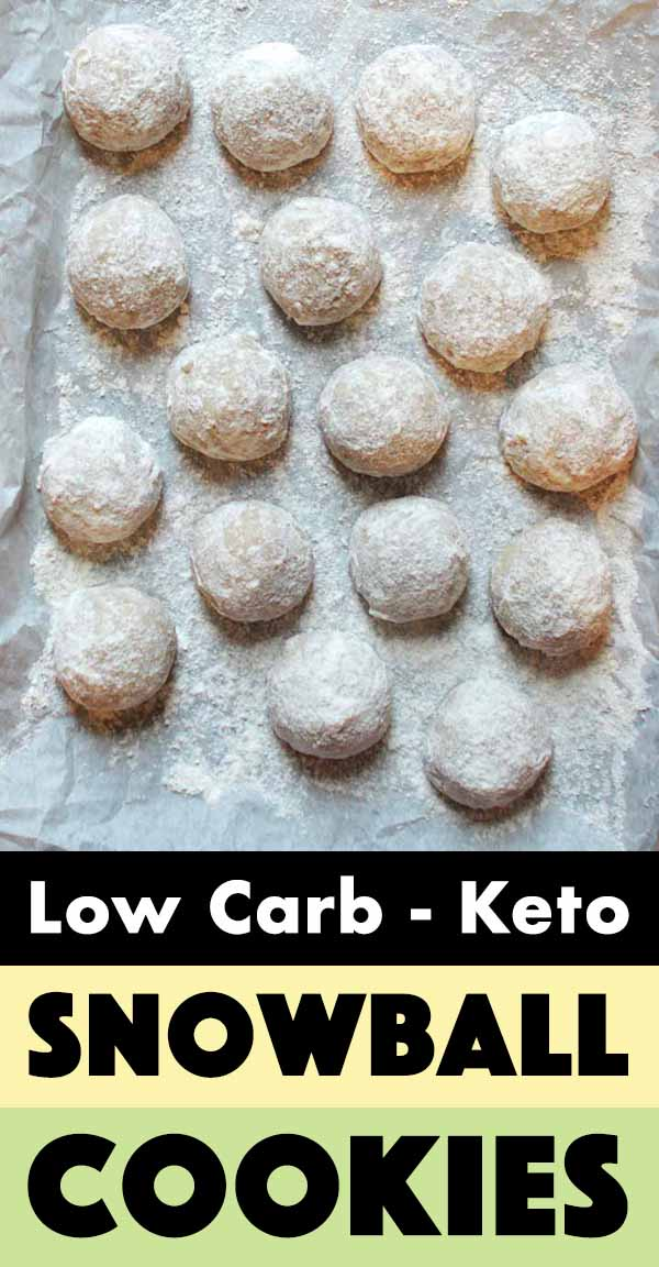 Pinterest Pin for Low Carb Snowball Cookies