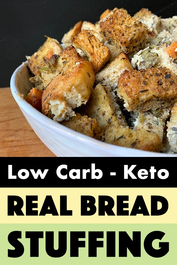 pinterest pin for real bread keto stuffing