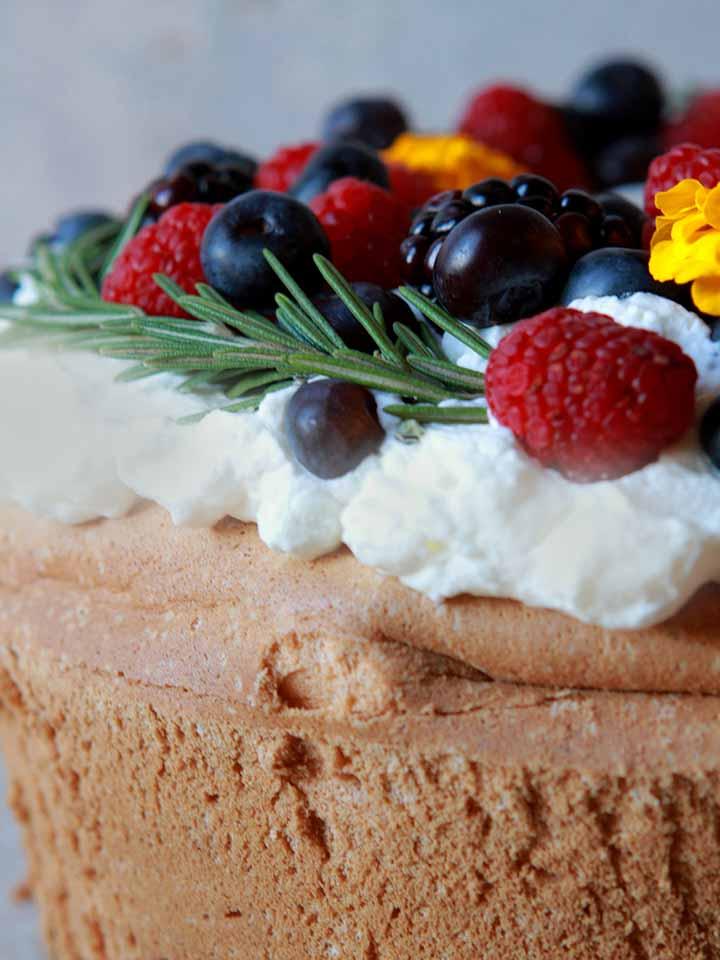 a close up of a sponge cake