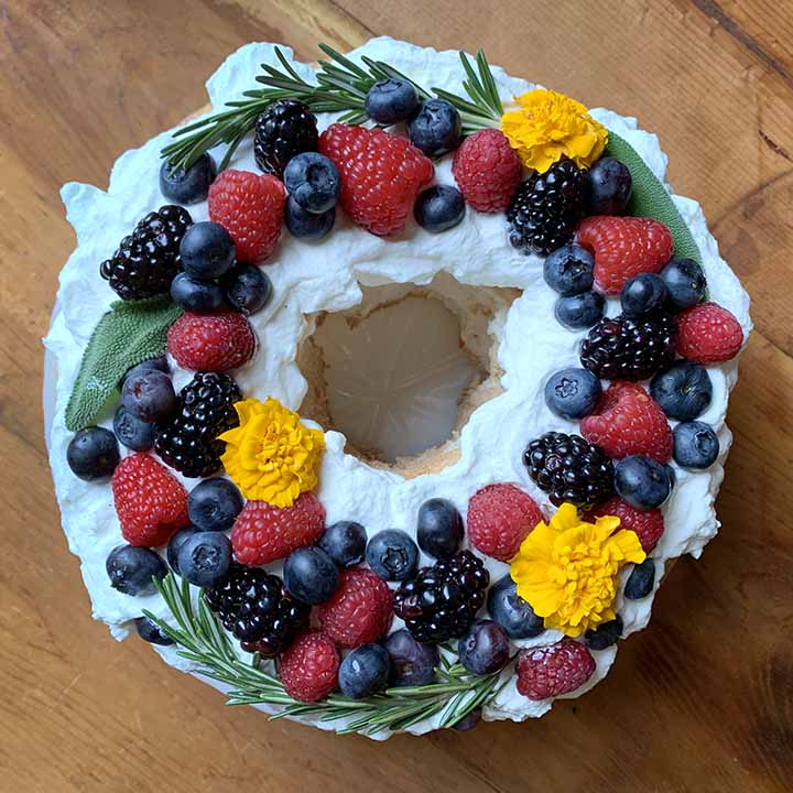 a top down view of a sugar-free angel food cake
