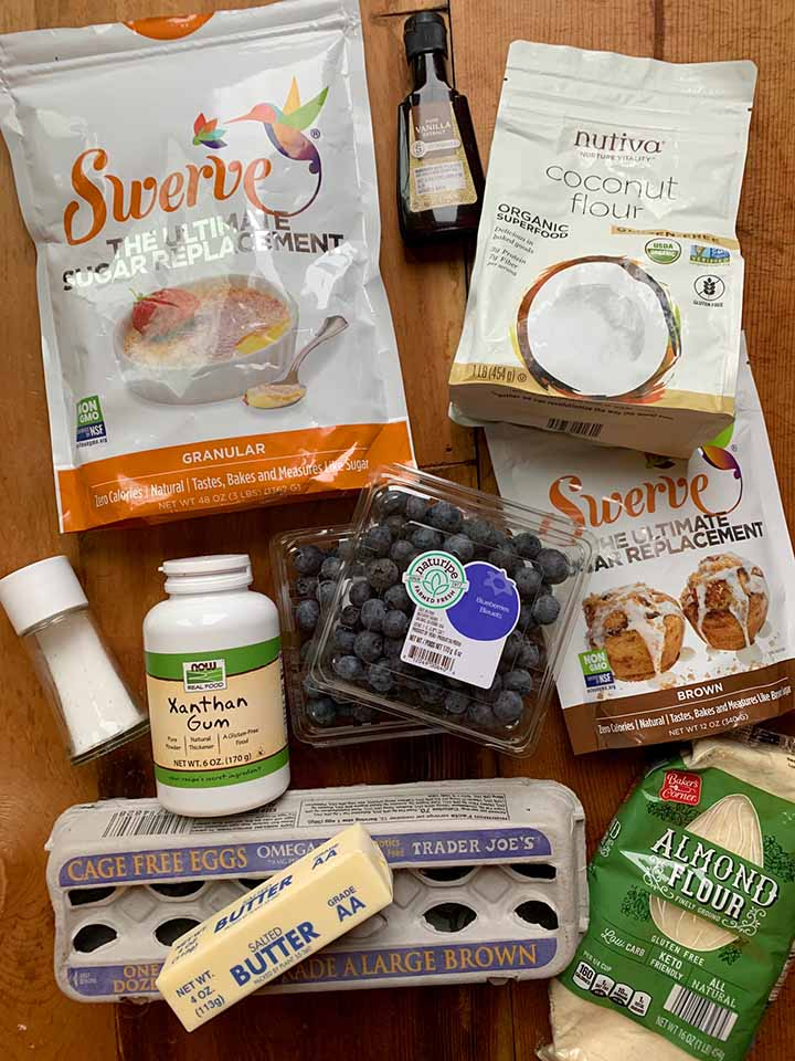 the ingredients for Keto blueberry breakfast bars