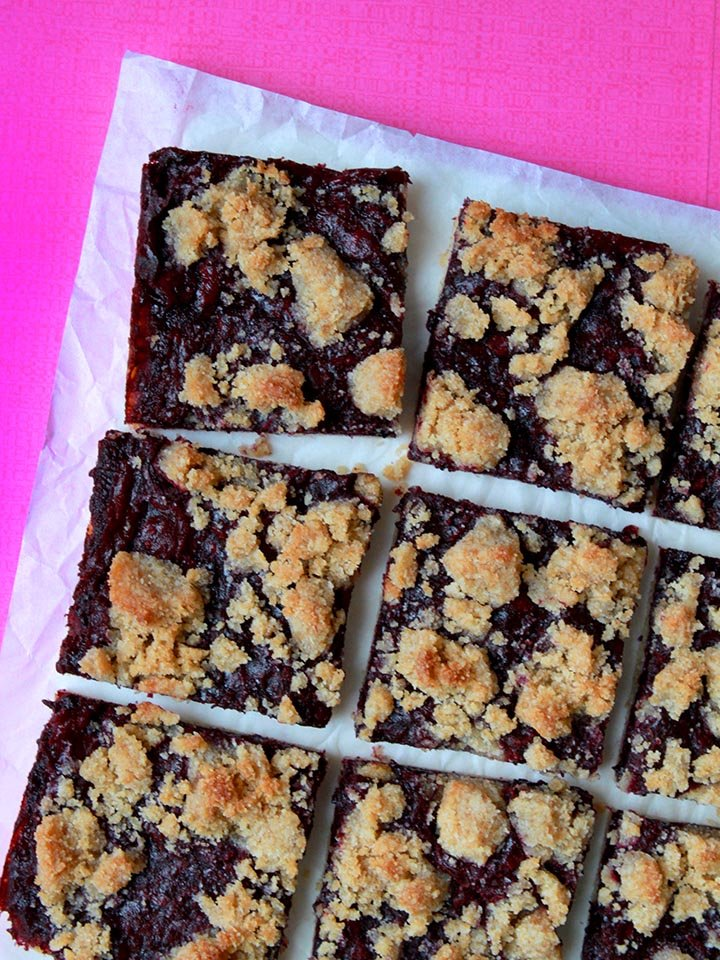 a top down view of blueberry crumble bars against a hot pink background