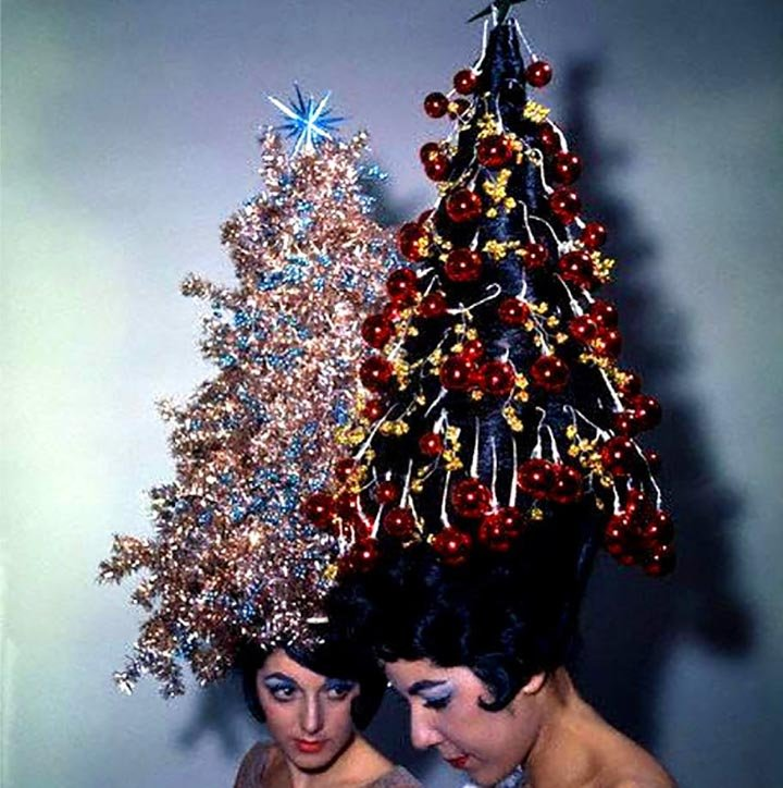 Old 1960's photo of 2 women wearing Christmas tree hair-dos