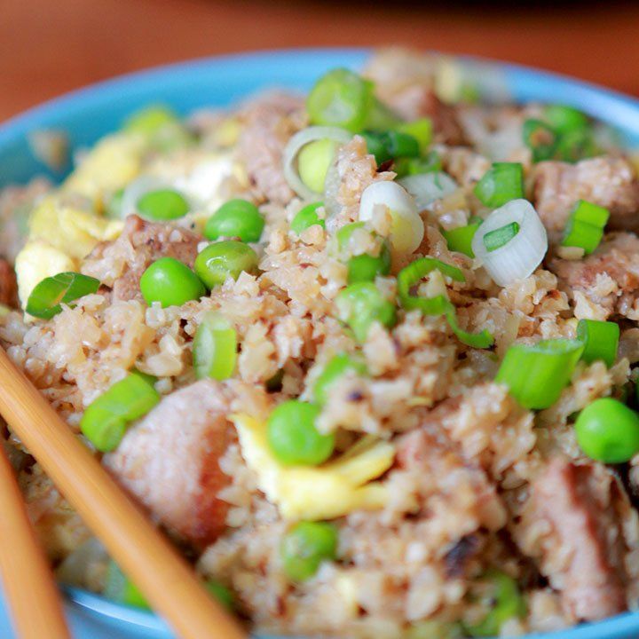 a close up of a bowl of Whole30 pork fried rice