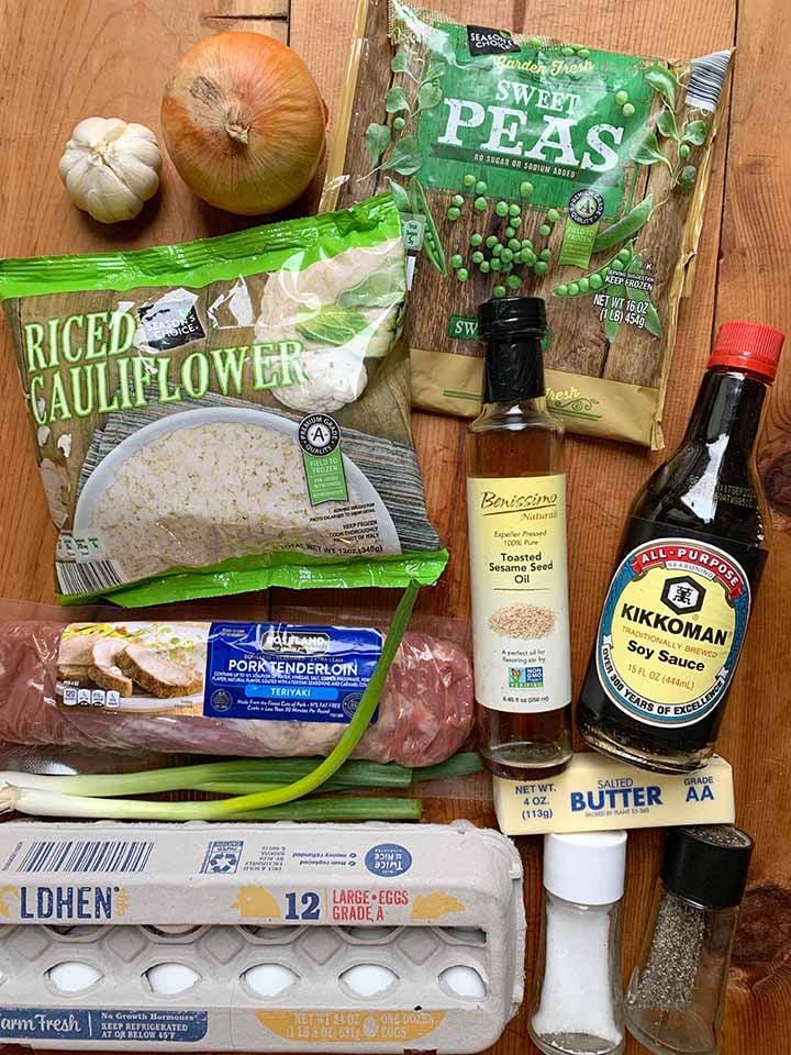 Ingredients for Pork Fried Cauliflower Rice