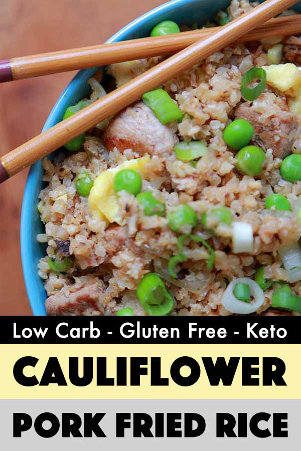 Pinterest Pin for Cauliflower Pork Fried Rice
