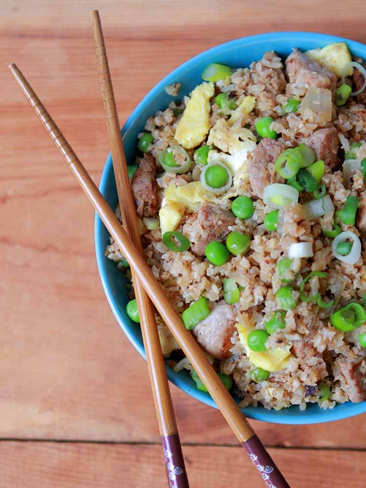 a top down view of a bowl of gluten-free pork fried rice