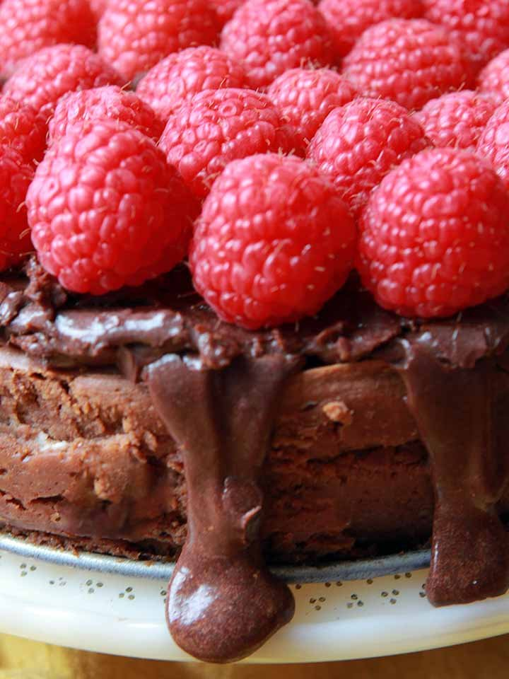 a close up of a Keto chocolate cheesecake with fresh raspberries on top