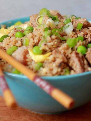 a bowl of Keto Pork Fried Cauli Rice