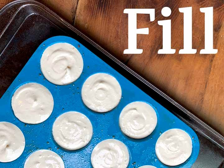 6 fill the wells of the cupcake pan with batter