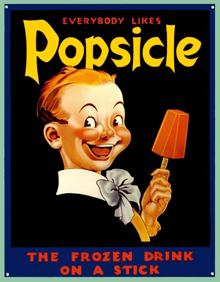 an old timey poster for popsicles