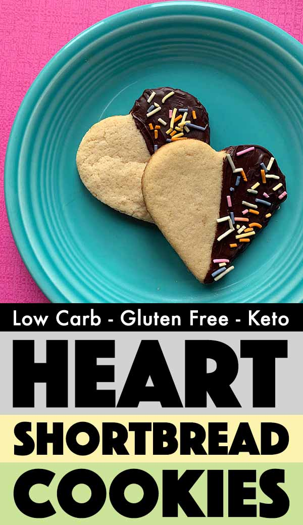 Pinterest Pin for Keto Shortbread Heart Cookies