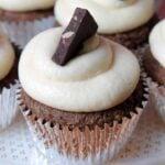 a close up of a gluten-free chocolate cupcake