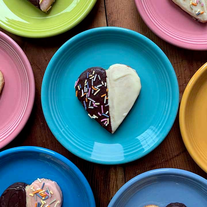 multi-color plates hold low carb heart shaped shortbread cookies