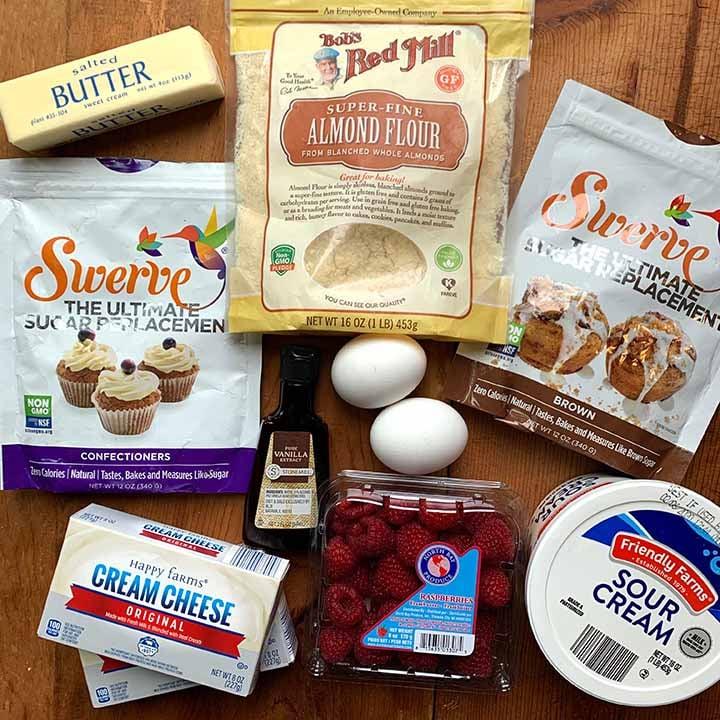 the ingredients for Keto raspberry mini cheesecakes