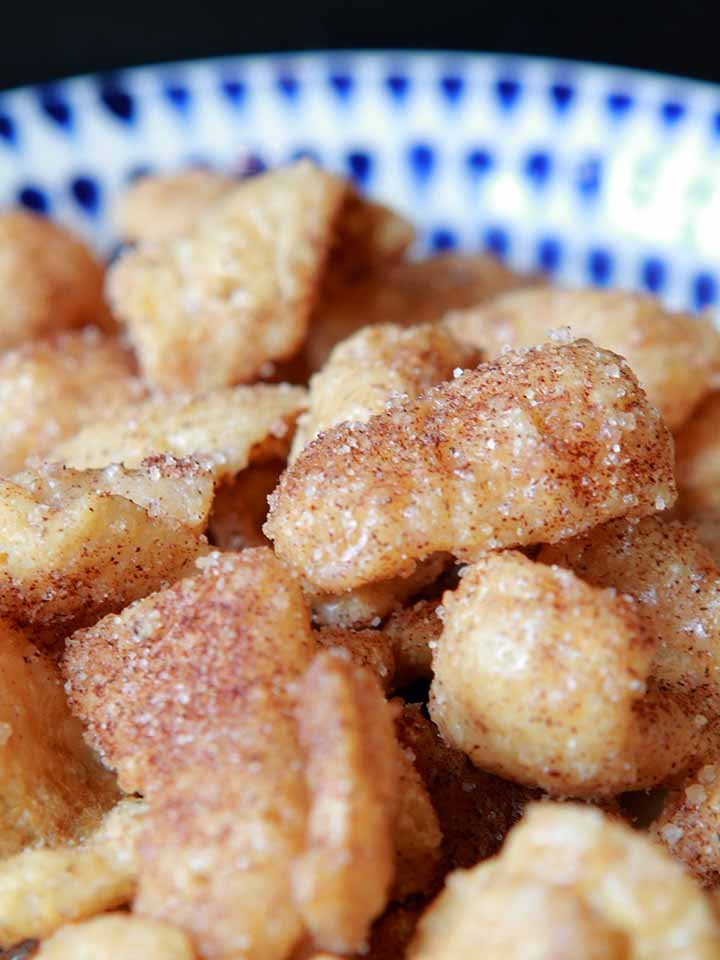 a close up shot of a bowl of Keto Cinnamon Toast Crunch Cereal
