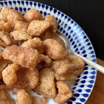 a bowl of Keto pork rind cinnamon cereal