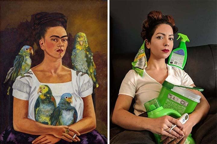 a woman dresses up like a Frida Kahlo paining