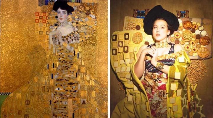 a woman recreates a famous Klimpt painting