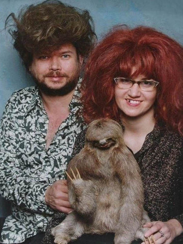 a couple who love sloths and big hair dos