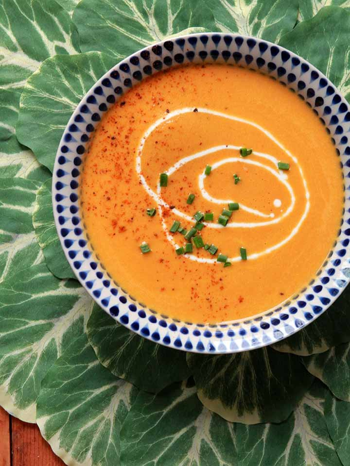 a top down view of a bowl of dairy-free carrot coconut soup