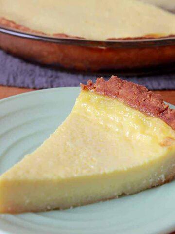 a slice of Keto egg custard pie on a green plate