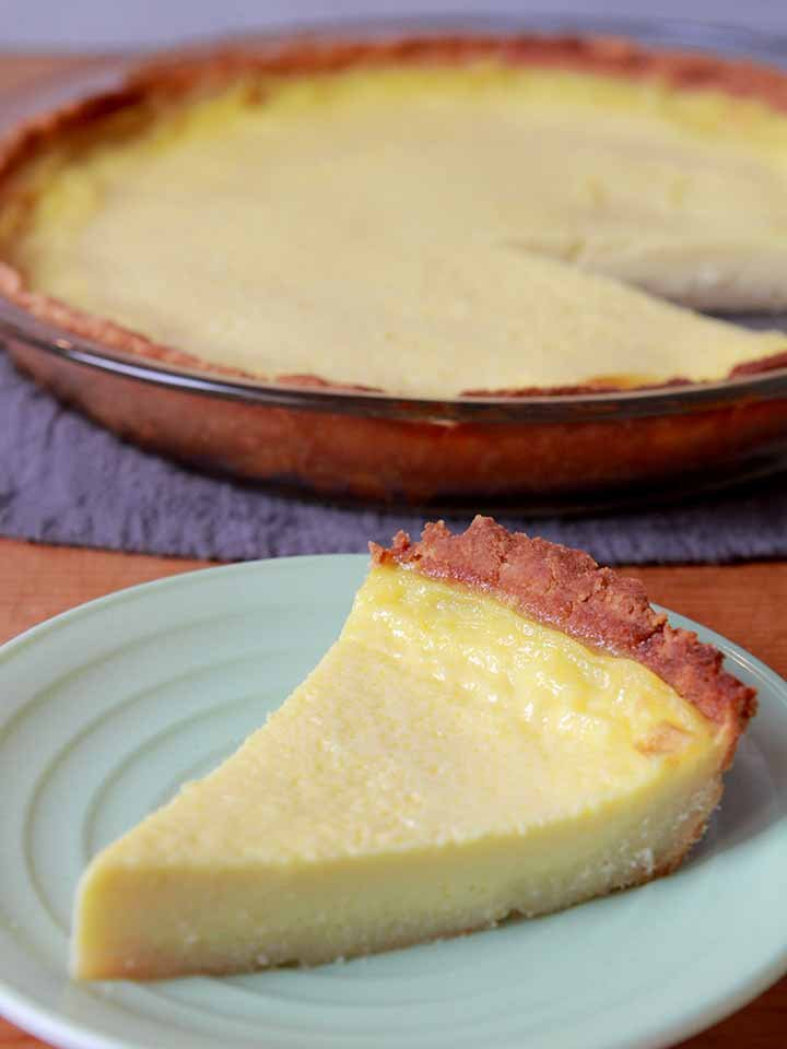 Keto Egg Custard Pie with a slice taken out