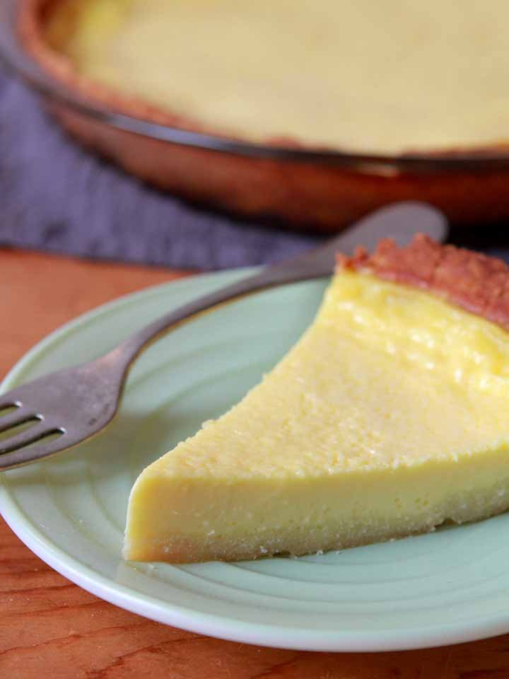 a close up of a slice of vanilla pie