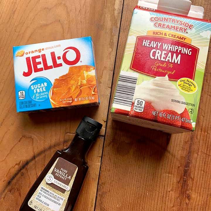 ingredients for Jello orange popsicles