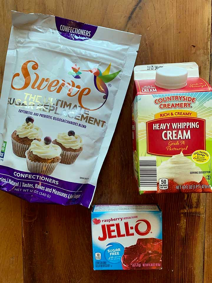 the ingredients of creamy Keto Jello whips