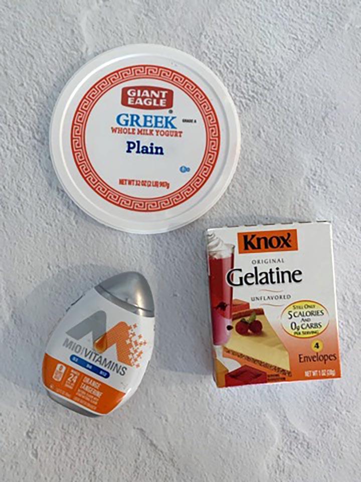 ingredients of a Sugar Free Orange Tangerine Jello Whip