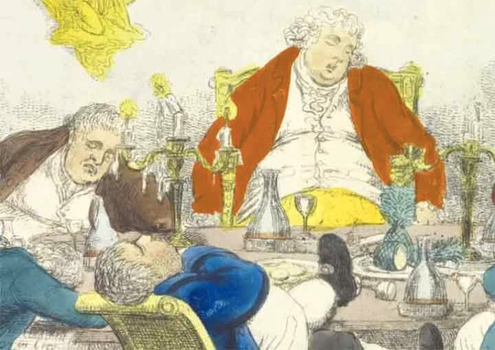 a painting from the 1800's of men who ate too much and fell asleep