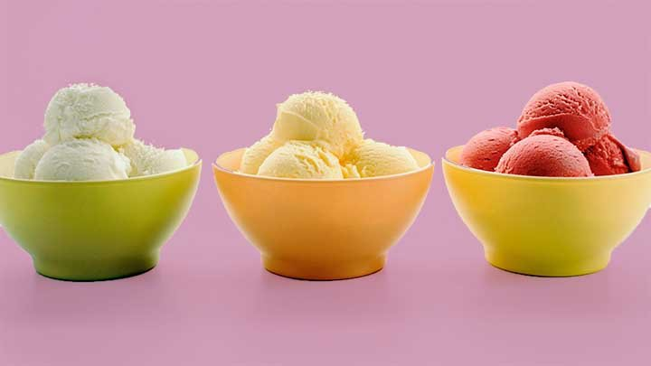 three bowls of classic sherbet and sorbet