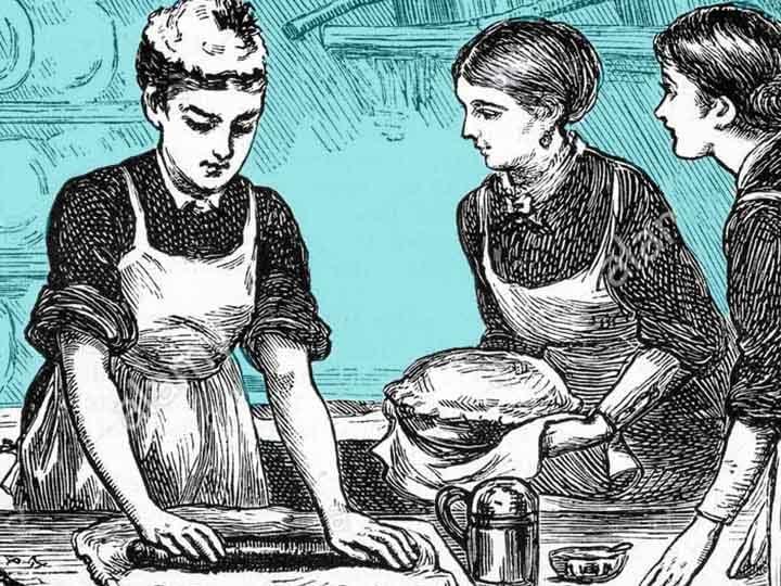 1800's wood cut print of women baking